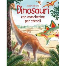 Libro con mascherine per stencil Dinosauri dai 3 anni