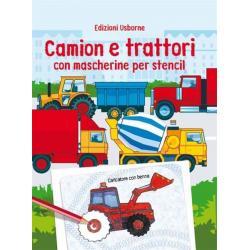 Libro con mascherine per stencil -Camion e trattori dai 3anni