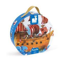 Valigetta Rotonda Puzzle Gigante la Nave dei Pirati 39 pezzi 4-7 anni