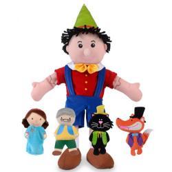 Burattino Pinocchio con burattini a dita